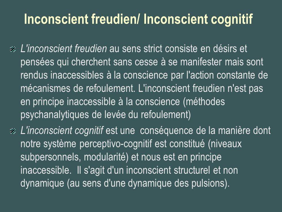 Inconscient freudien/ Inconscient cognitif L'inconscient freudien au sens strict consiste en désirs et pensées qui cherchent sans cesse à se manifeste