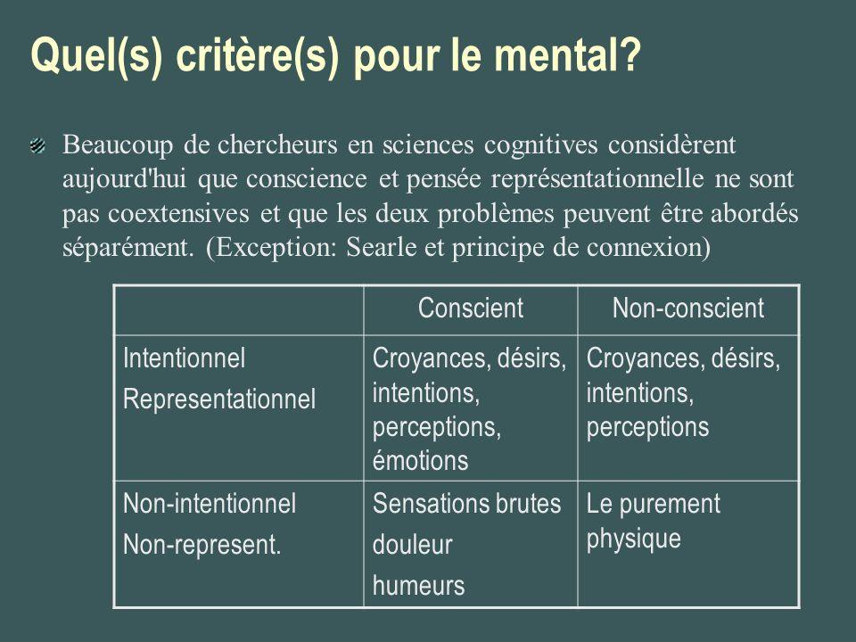 Quel(s) critère(s) pour le mental? Beaucoup de chercheurs en sciences cognitives considèrent aujourd'hui que conscience et pensée représentationnelle