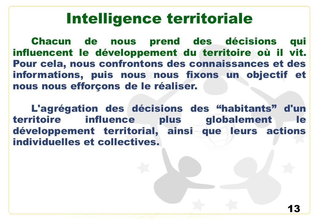 13 Intelligence territoriale Chacun de nous prend des décisions qui influencent le développement du territoire où il vit. Pour cela, nous confrontons