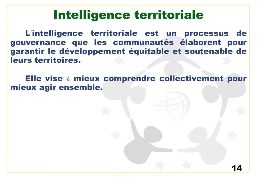 14 Intelligence territoriale L intelligence territoriale est un processus de gouvernance que les communautés élaborent pour garantir le développement