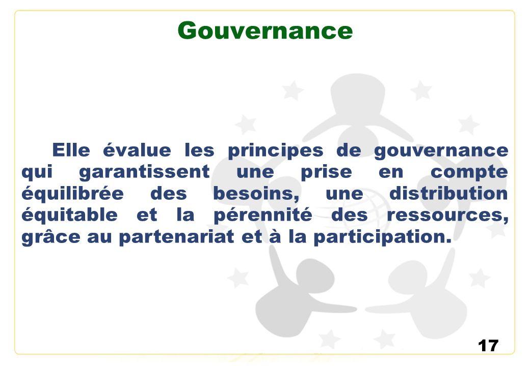 17 Gouvernance Elle évalue les principes de gouvernance qui garantissent une prise en compte équilibrée des besoins, une distribution équitable et la