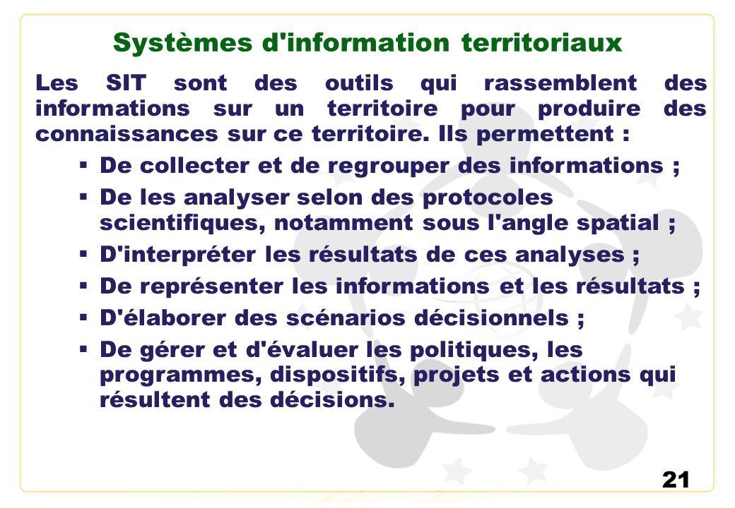 21 Systèmes d'information territoriaux Les SIT sont des outils qui rassemblent des informations sur un territoire pour produire des connaissances sur