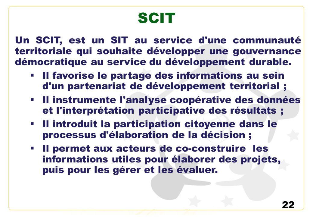 22 SCIT Un SCIT, est un SIT au service d'une communauté territoriale qui souhaite développer une gouvernance démocratique au service du développement