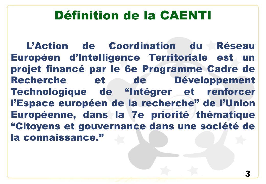 3 Définition de la CAENTI LAction de Coordination du Réseau Européen dIntelligence Territoriale est un projet financé par le 6e Programme Cadre de Rec