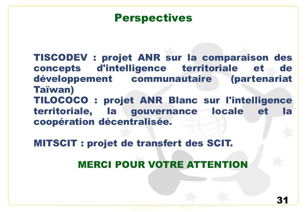 31 Perspectives TISCODEV : projet ANR sur la comparaison des concepts d'intelligence territoriale et de développement communautaire (partenariat Taïwa