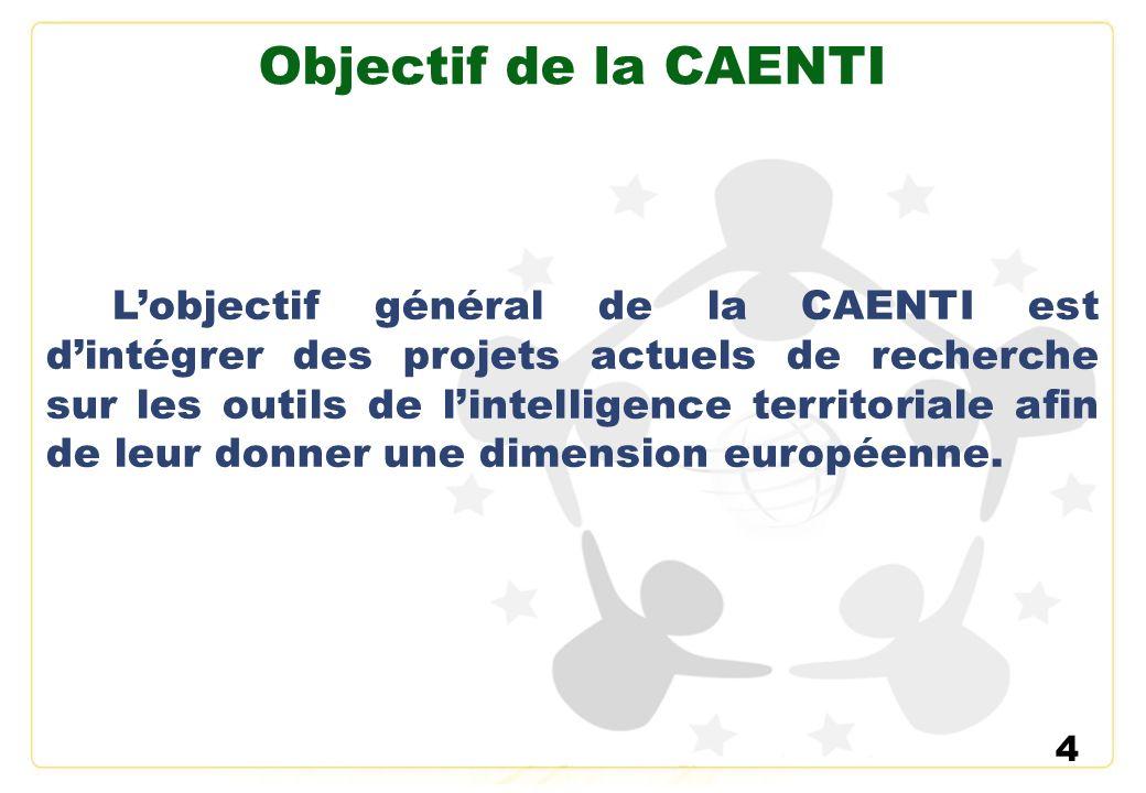 4 Objectif de la CAENTI Lobjectif général de la CAENTI est dintégrer des projets actuels de recherche sur les outils de lintelligence territoriale afi