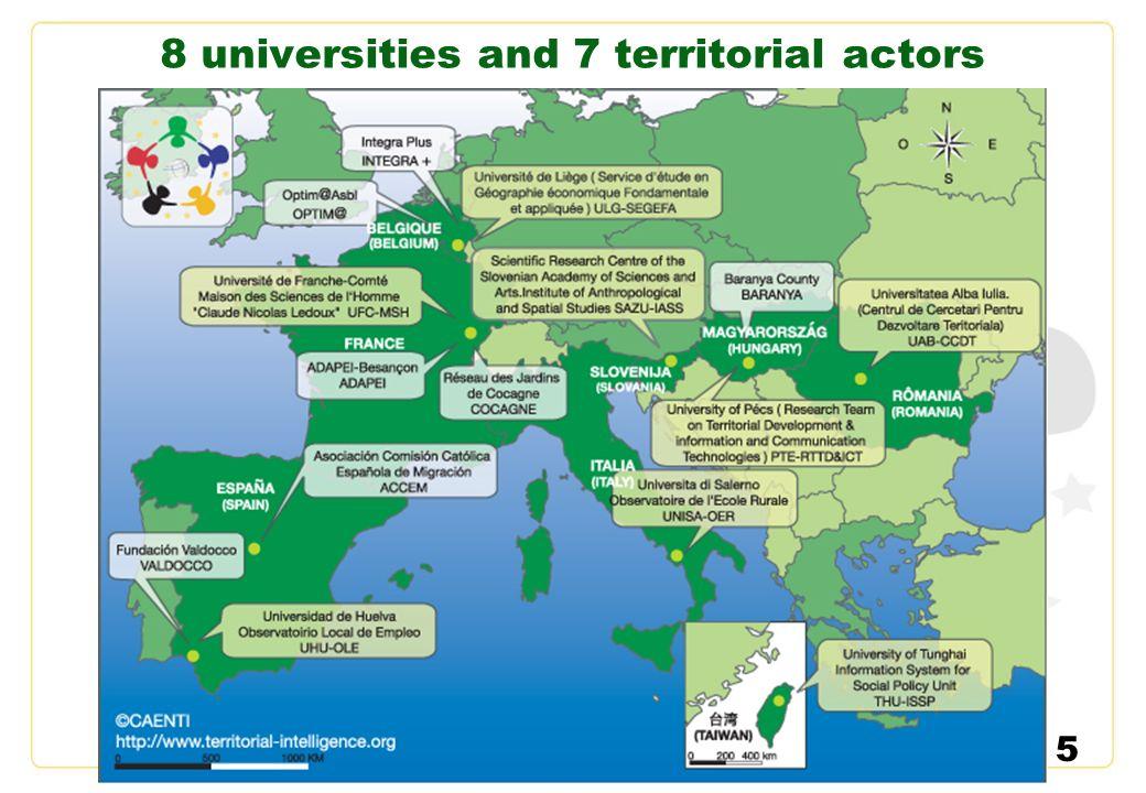 5 8 universities and 7 territorial actors