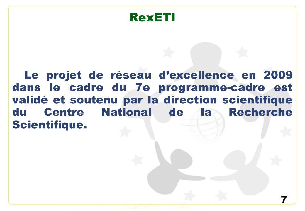 7 RexETI Le projet de réseau dexcellence en 2009 dans le cadre du 7e programme-cadre est validé et soutenu par la direction scientifique du Centre Nat