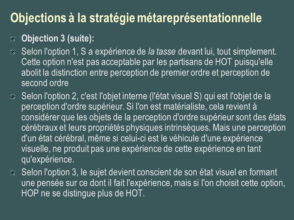 Objections à la stratégie métareprésentationnelle Objection 3 (suite): Selon l'option 1, S a expérience de la tasse devant lui, tout simplement. Cette