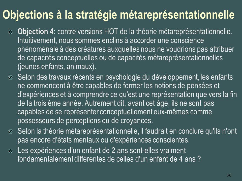 30 Objections à la stratégie métareprésentationnelle Objection 4 : contre versions HOT de la théorie métareprésentationnelle. Intuitivement, nous somm