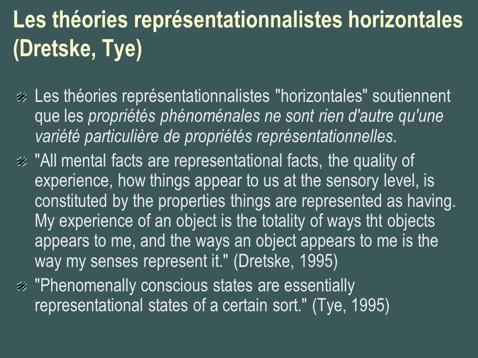 Les théories représentationnalistes horizontales (Dretske, Tye) Les théories représentationnalistes