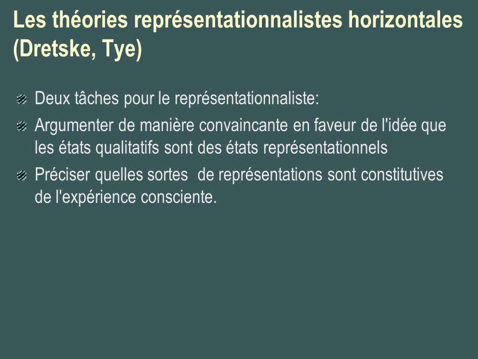 Les théories représentationnalistes horizontales (Dretske, Tye) Deux tâches pour le représentationnaliste: Argumenter de manière convaincante en faveu