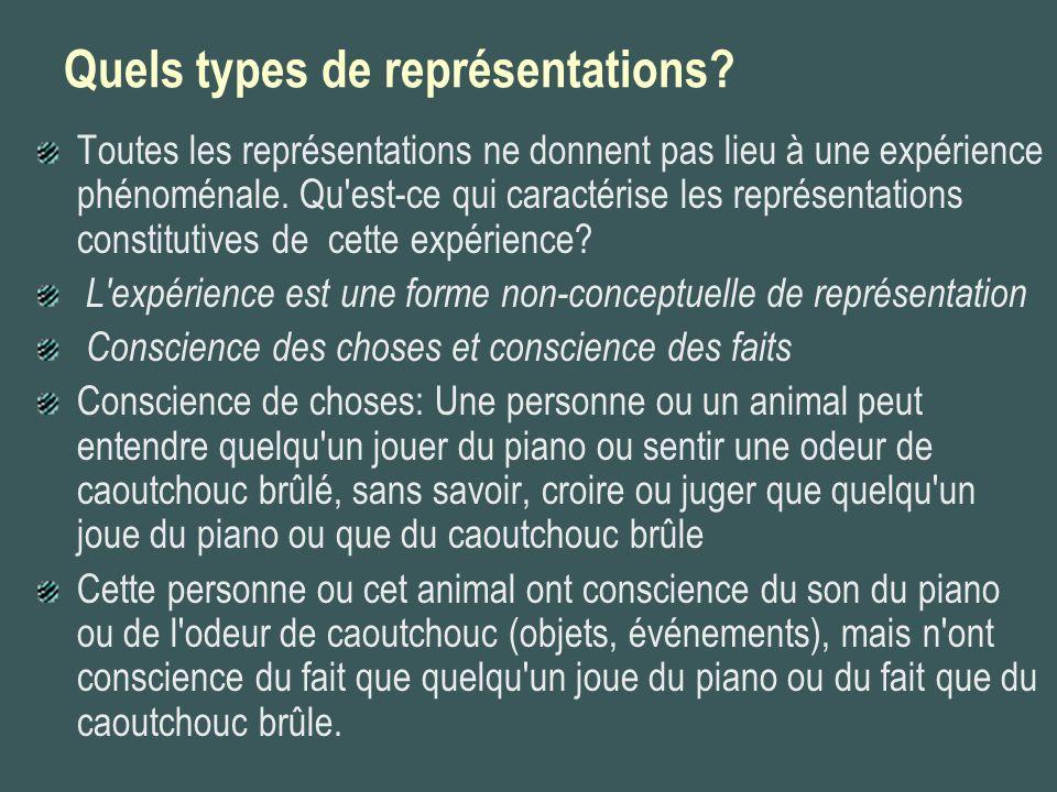 Quels types de représentations? Toutes les représentations ne donnent pas lieu à une expérience phénoménale. Qu'est-ce qui caractérise les représentat