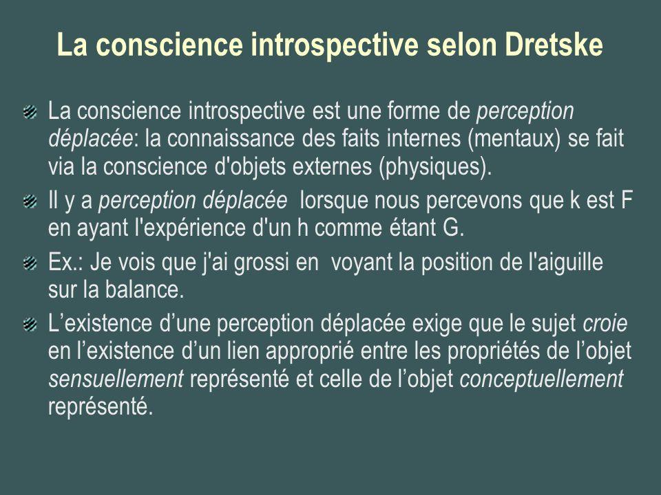 La conscience introspective selon Dretske La conscience introspective est une forme de perception déplacée : la connaissance des faits internes (menta