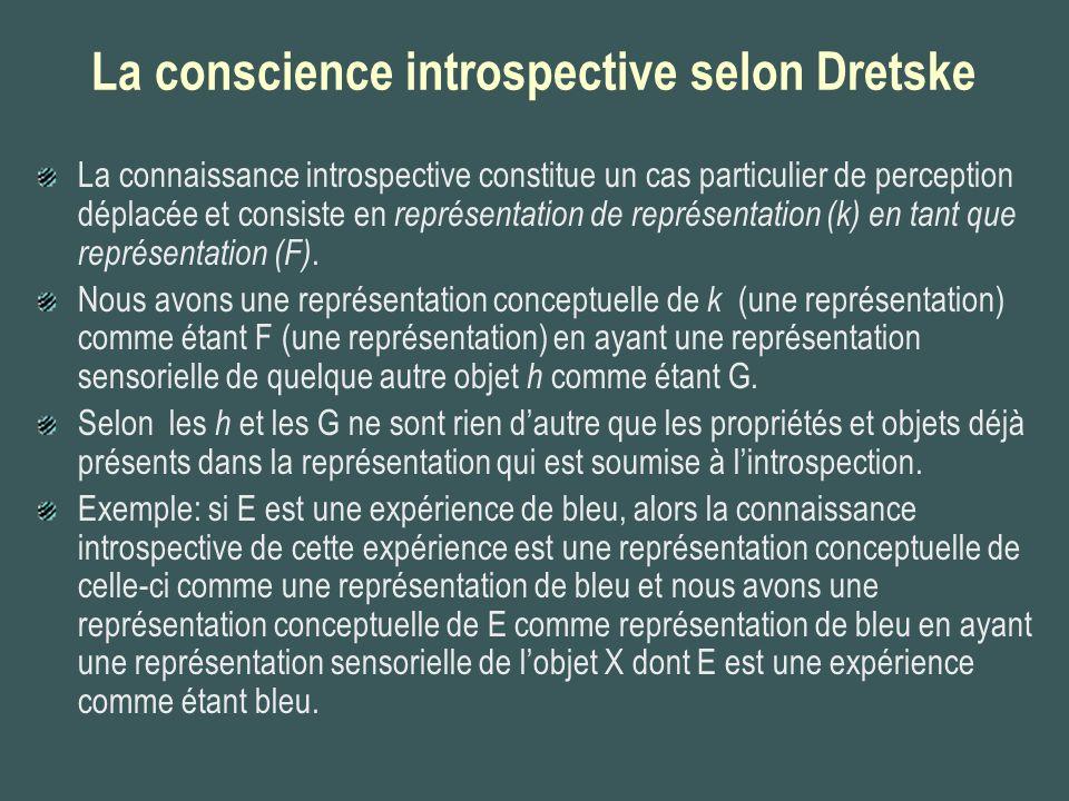 La conscience introspective selon Dretske La connaissance introspective constitue un cas particulier de perception déplacée et consiste en représentat