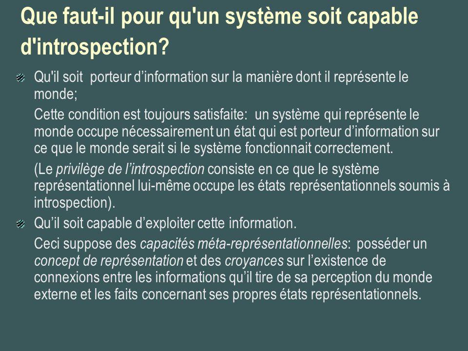 Que faut-il pour qu'un système soit capable d'introspection? Qu'il soit porteur dinformation sur la manière dont il représente le monde; Cette conditi