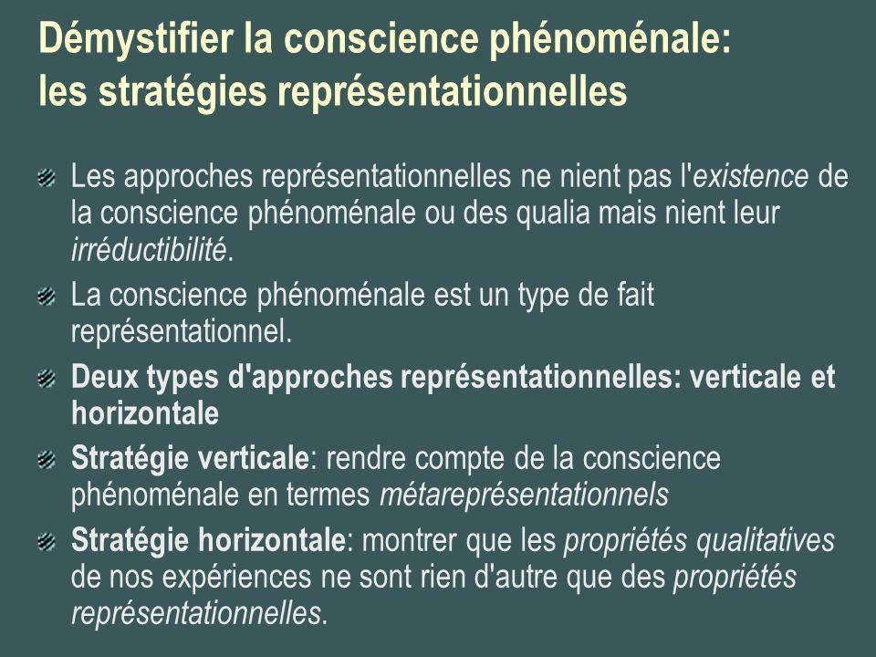 Les théories représentationnalistes horizontales (Dretske, Tye) Les théories représentationnalistes horizontales soutiennent que les propriétés phénoménales ne sont rien d autre qu une variété particulière de propriétés représentationnelles.