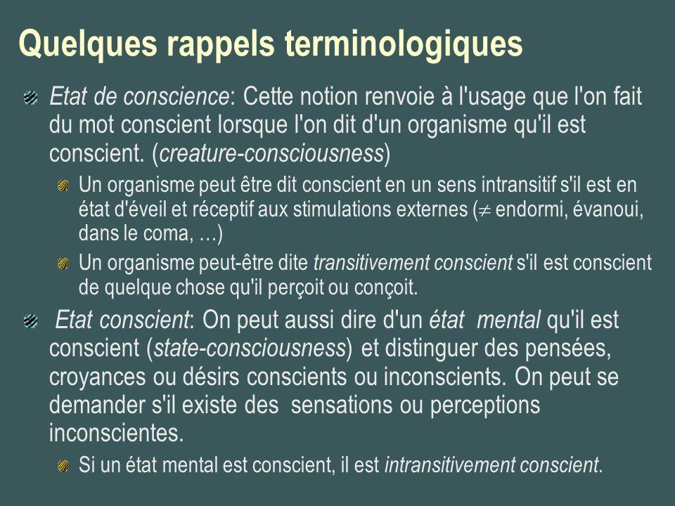 Quelques rappels terminologiques Etat de conscience : Cette notion renvoie à l'usage que l'on fait du mot conscient lorsque l'on dit d'un organisme qu