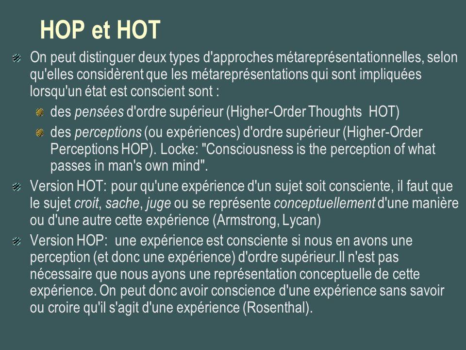 HOP et HOT On peut distinguer deux types d'approches métareprésentationnelles, selon qu'elles considèrent que les métareprésentations qui sont impliqu