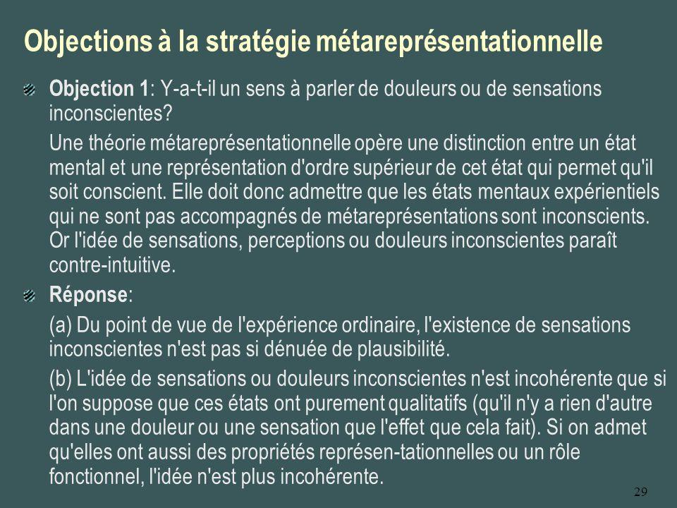 29 Objections à la stratégie métareprésentationnelle Objection 2 : Il n est pas suffisant qu une personne forme une pensée d ordre supérieur sur un état mental de premier ordre pour que celui-ci puisse être dit conscient.