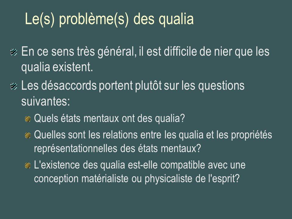 Usages plus spécifiques du terme qualia Théorie des sense-data: Dans la perception, nous sommes directement conscients d un objet mental interne (sense-datum).