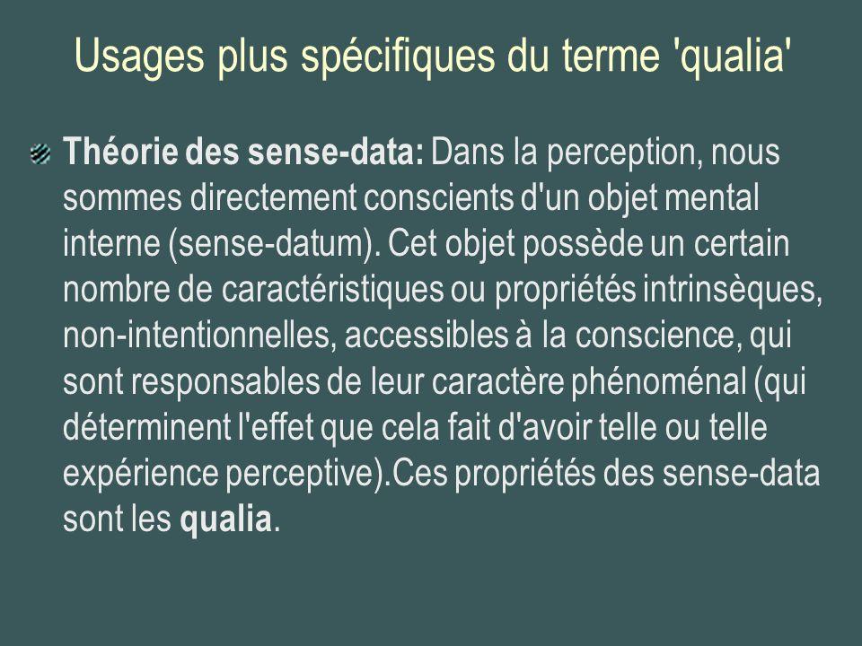 Usages plus spécifiques du terme qualia Certains philosophes (Nagel, 1974; Peacocke, 1983; Block, 1990), sans souscrire à la théorie des sense- data, maintiennent néanmoins que les qualia sont des traits intrinsèques de l expérience qui: (a)sont accessibles à l introspection; (b)peuvent varier sans aucune variation du contenu intentionnel des expériences; (c)sont les contreparties mentales de certaines propriétés directement observables des objets (ex.