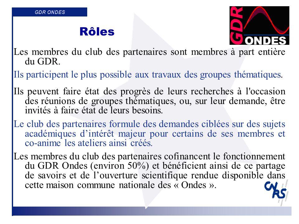 GDR ONDES Un club des partenaires spécifique mais similaire à ceux dautres GdR danimation scientifique, des liens avec dautres GDR connexes et sociétés savantes (CNFRS, COFREND, SEE, SFA…)