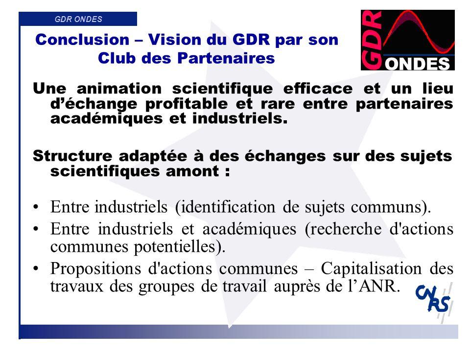 GDR ONDES Conclusion Merci aux modérateurs de ces groupes pour le travail accompli ainsi quà tous ceux qui ont contribué à ces réunions.