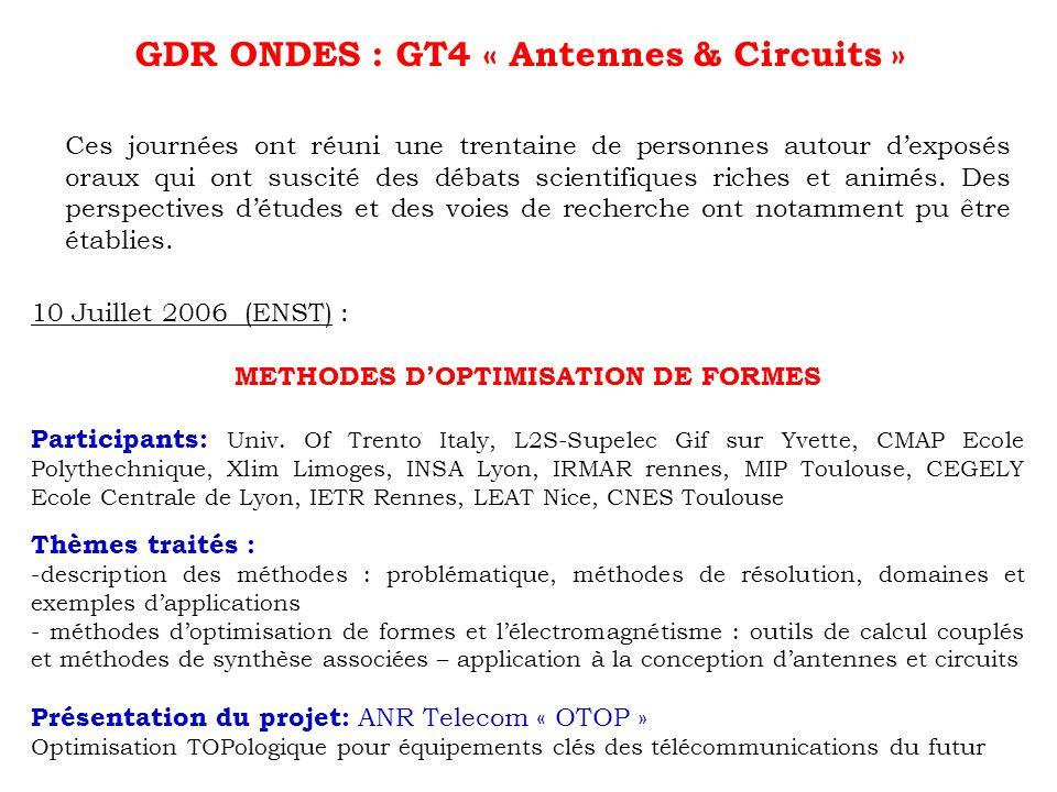 GDR ONDES : GT4 « Antennes & Circuits » Ces journées ont réuni une trentaine de personnes autour dexposés oraux qui ont suscité des débats scientifiqu