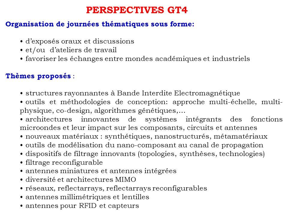 PERSPECTIVES GT4 Organisation de journées thématiques sous forme: dexposés oraux et discussions et/ou dateliers de travail favoriser les échanges entr