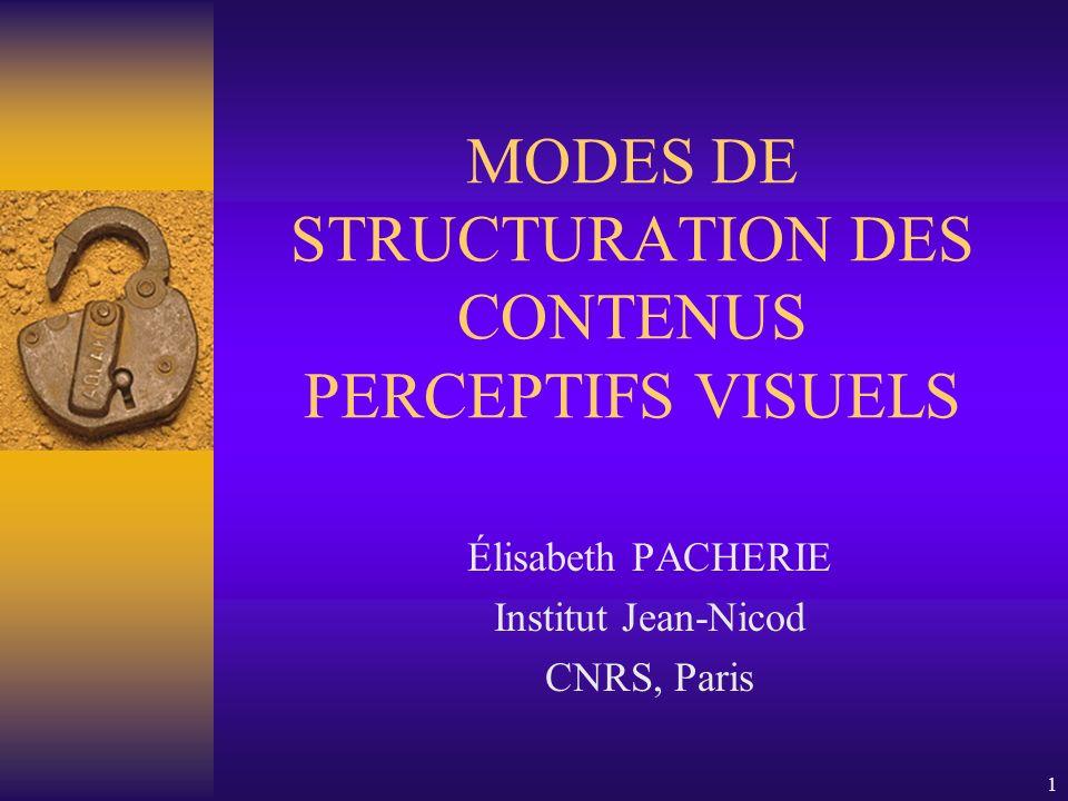 1 MODES DE STRUCTURATION DES CONTENUS PERCEPTIFS VISUELS Élisabeth PACHERIE Institut Jean-Nicod CNRS, Paris