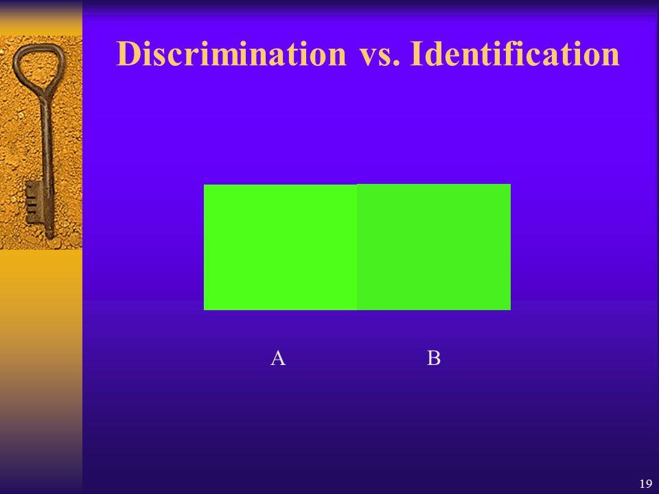 19 Discrimination vs. Identification AB