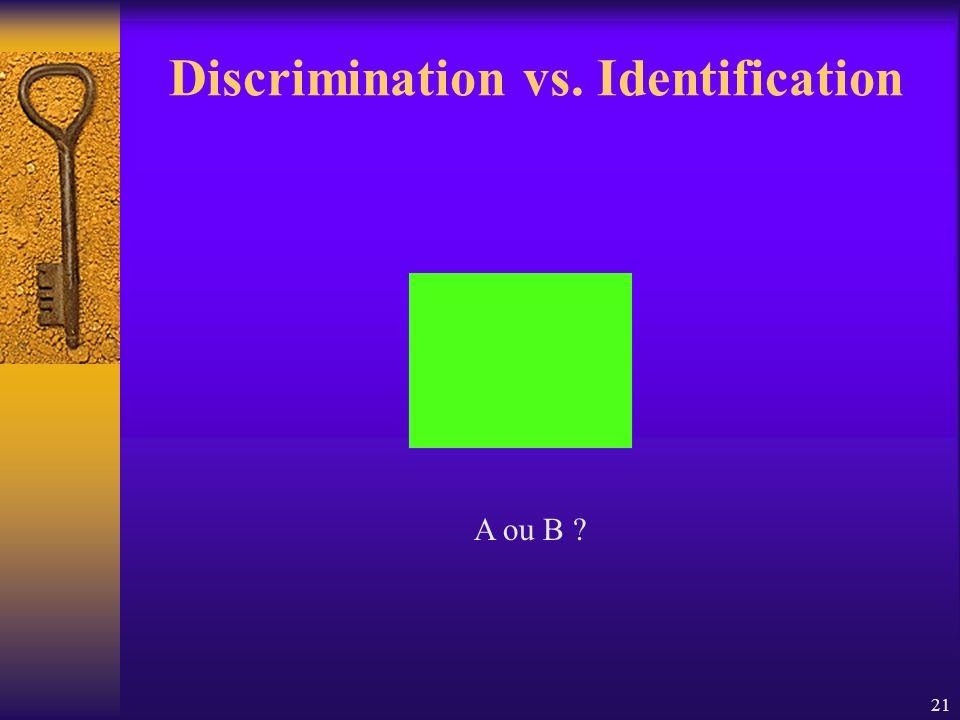 21 Discrimination vs. Identification A ou B ?