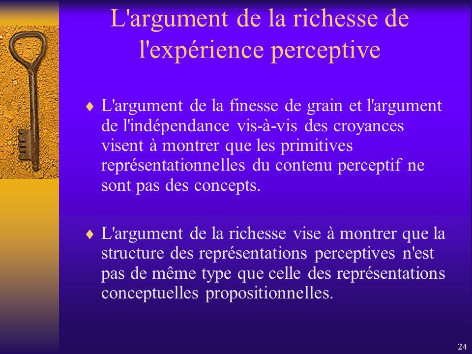 24 L'argument de la richesse de l'expérience perceptive L'argument de la finesse de grain et l'argument de l'indépendance vis-à-vis des croyances vise