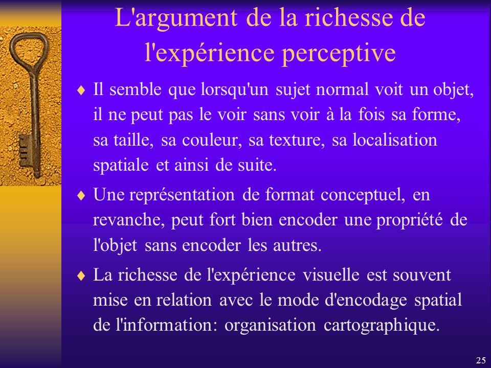 25 L'argument de la richesse de l'expérience perceptive Il semble que lorsqu'un sujet normal voit un objet, il ne peut pas le voir sans voir à la fois