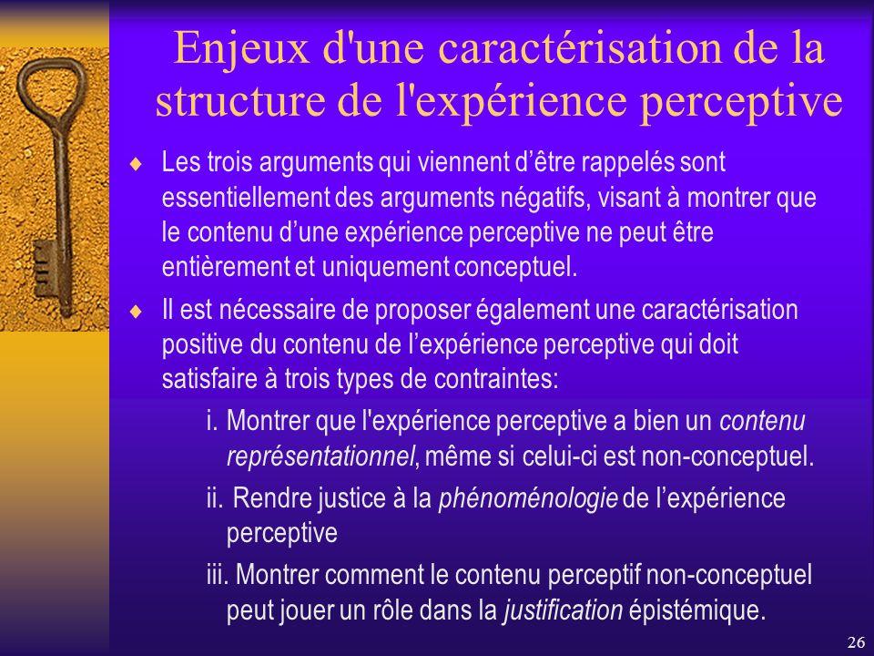 26 Enjeux d'une caractérisation de la structure de l'expérience perceptive Les trois arguments qui viennent dêtre rappelés sont essentiellement des ar