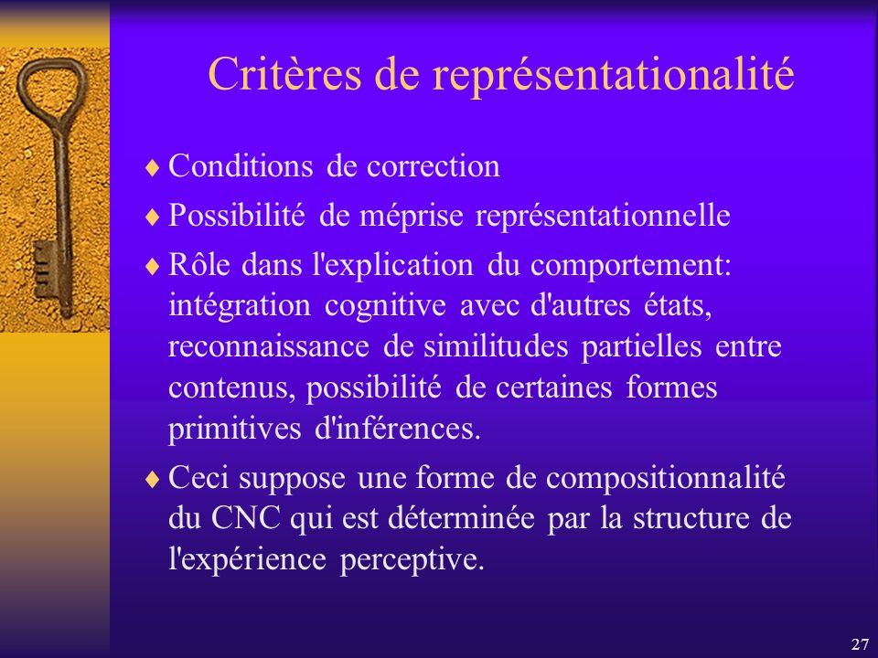 27 Critères de représentationalité Conditions de correction Possibilité de méprise représentationnelle Rôle dans l'explication du comportement: intégr