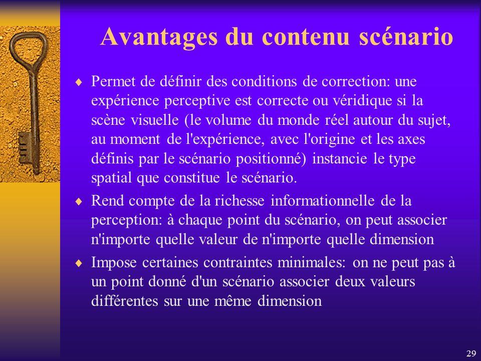 29 Avantages du contenu scénario Permet de définir des conditions de correction: une expérience perceptive est correcte ou véridique si la scène visue