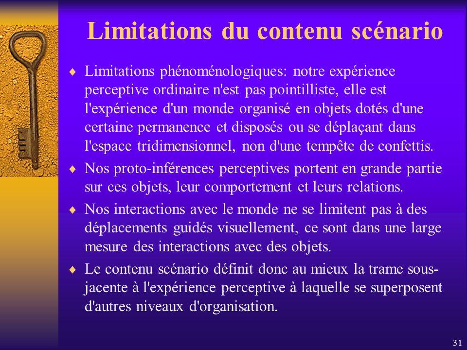 31 Limitations du contenu scénario Limitations phénoménologiques: notre expérience perceptive ordinaire n'est pas pointilliste, elle est l'expérience