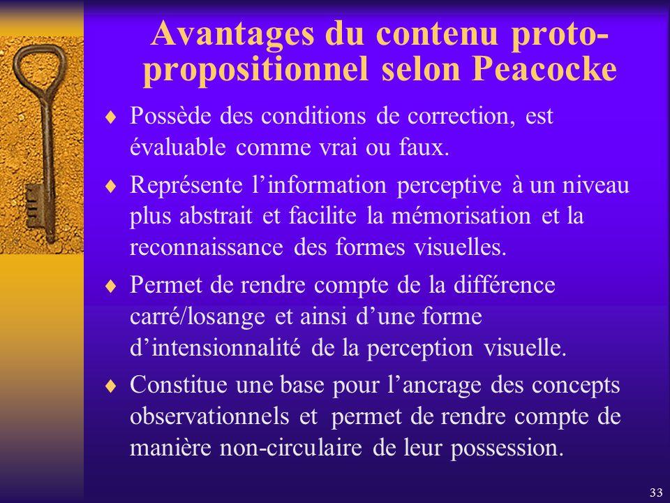 33 Avantages du contenu proto- propositionnel selon Peacocke Possède des conditions de correction, est évaluable comme vrai ou faux. Représente linfor