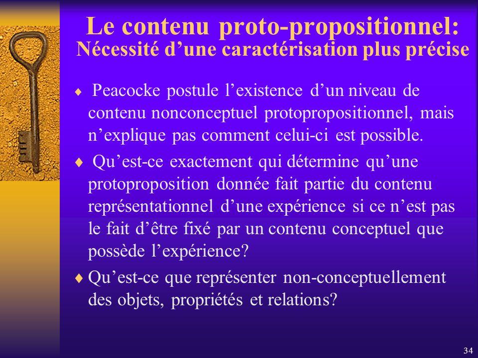 34 Le contenu proto-propositionnel: Nécessité dune caractérisation plus précise Peacocke postule lexistence dun niveau de contenu nonconceptuel protop