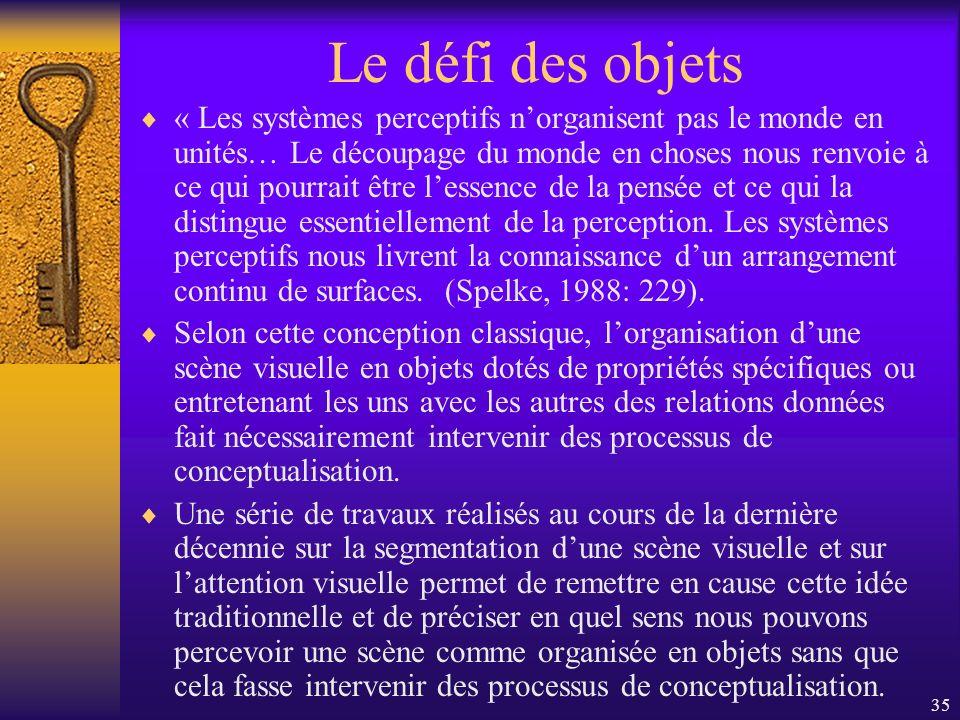 35 Le défi des objets « Les systèmes perceptifs norganisent pas le monde en unités… Le découpage du monde en choses nous renvoie à ce qui pourrait êtr