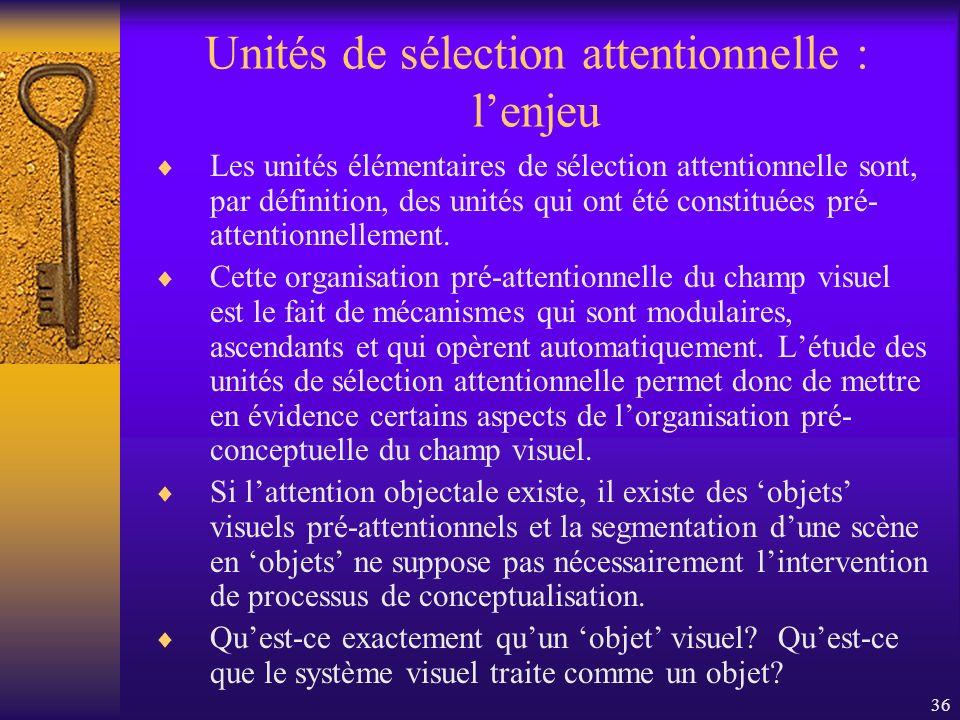 36 Unités de sélection attentionnelle : lenjeu Les unités élémentaires de sélection attentionnelle sont, par définition, des unités qui ont été consti