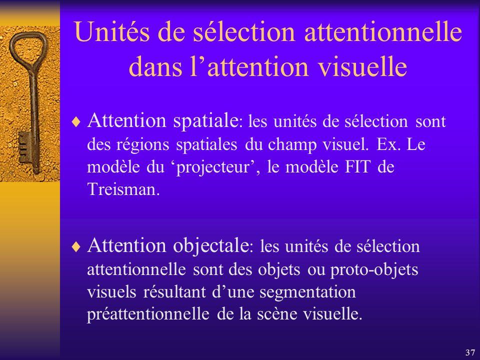 37 Unités de sélection attentionnelle dans lattention visuelle Attention spatiale : les unités de sélection sont des régions spatiales du champ visuel
