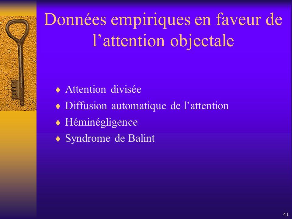 41 Données empiriques en faveur de lattention objectale Attention divisée Diffusion automatique de lattention Héminégligence Syndrome de Balint