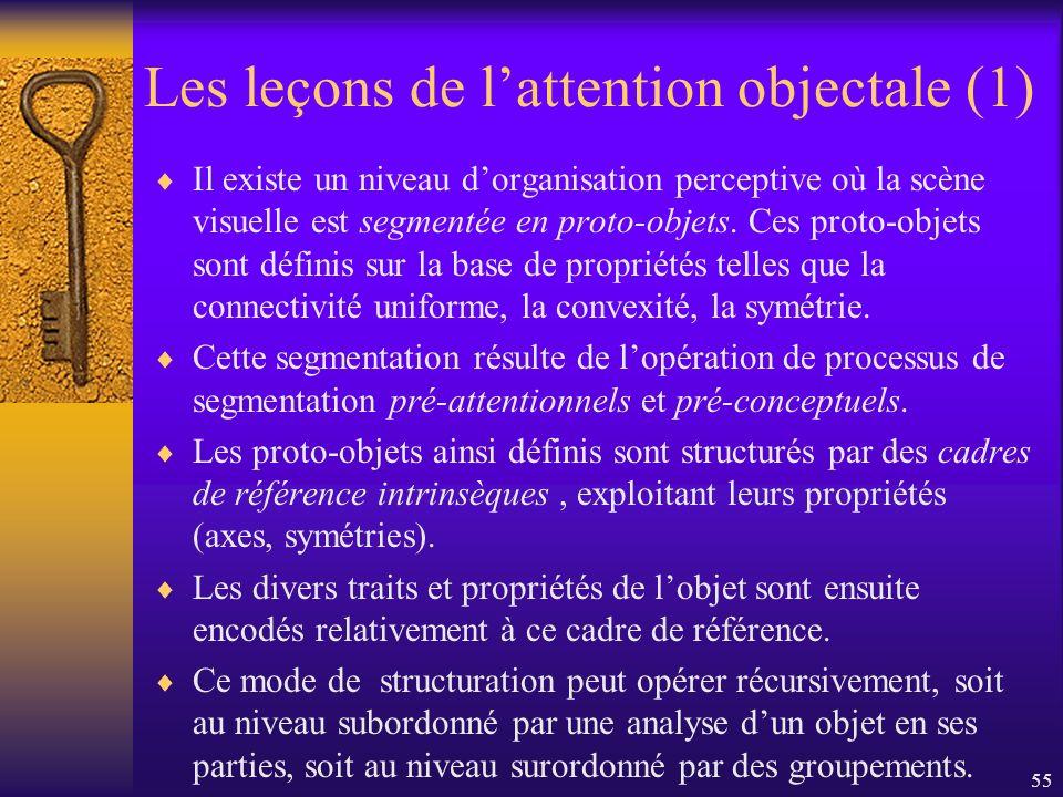 55 Les leçons de lattention objectale (1) Il existe un niveau dorganisation perceptive où la scène visuelle est segmentée en proto-objets. Ces proto-o