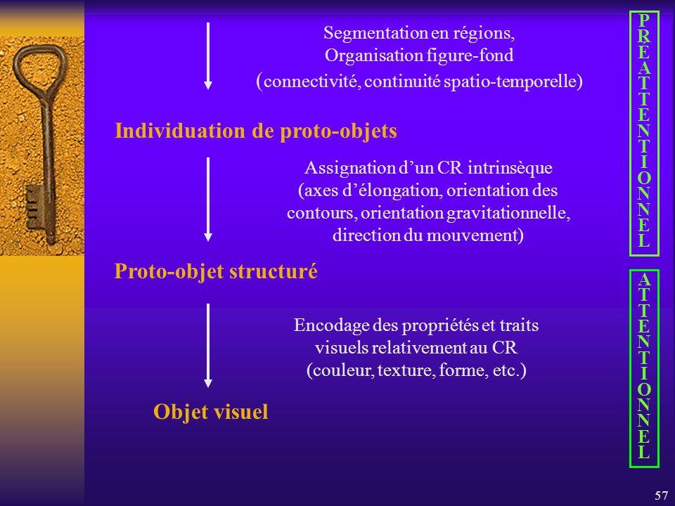 57 Assignation dun CR intrinsèque (axes délongation, orientation des contours, orientation gravitationnelle, direction du mouvement) Individuation de