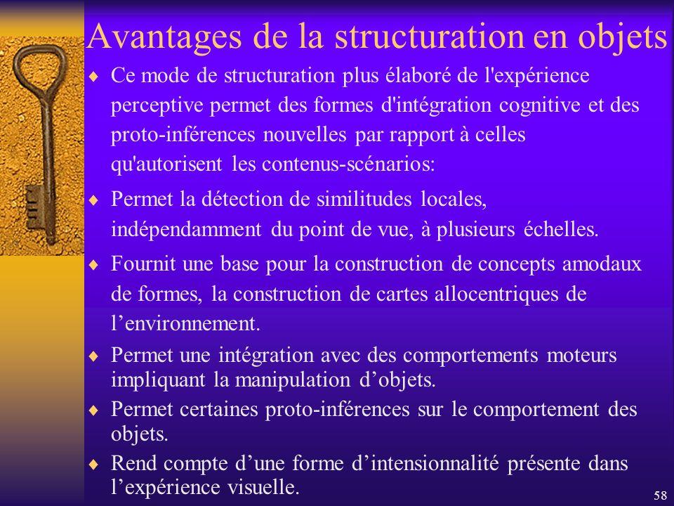 58 Avantages de la structuration en objets Ce mode de structuration plus élaboré de l'expérience perceptive permet des formes d'intégration cognitive