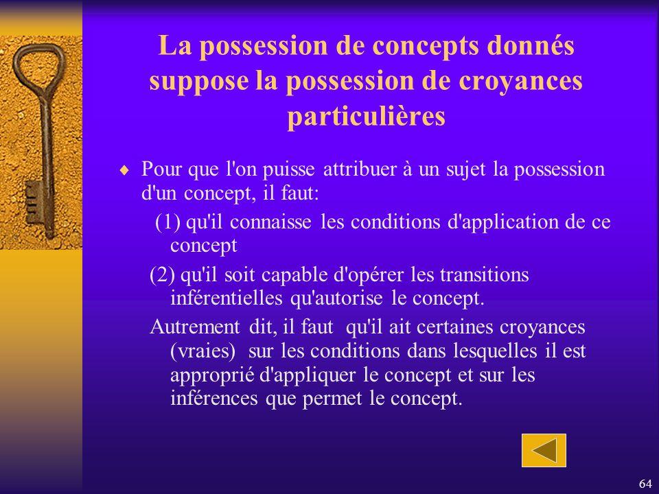 64 La possession de concepts donnés suppose la possession de croyances particulières Pour que l'on puisse attribuer à un sujet la possession d'un conc