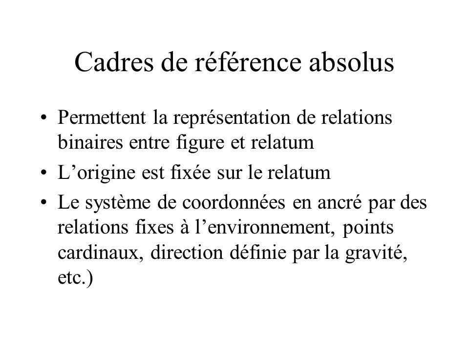 Cadres de référence absolus Permettent la représentation de relations binaires entre figure et relatum Lorigine est fixée sur le relatum Le système de